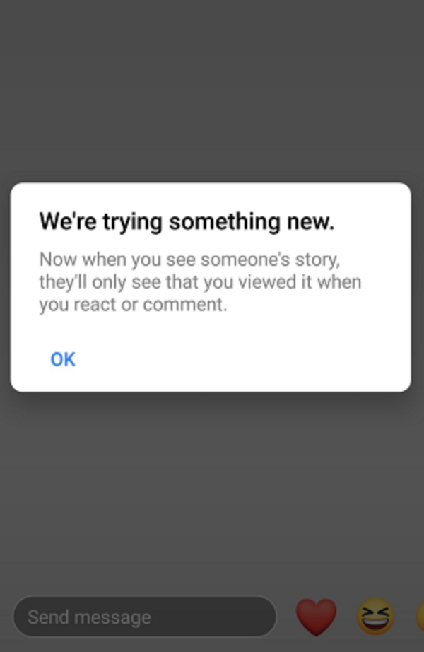 Facebook Experiments with Removing Data on Individual Stories Viewers